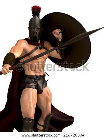 spartan ready for war - stock photo