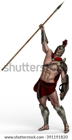 spartan soldier calling - stock photo