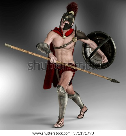 spartan soldier dream - stock photo