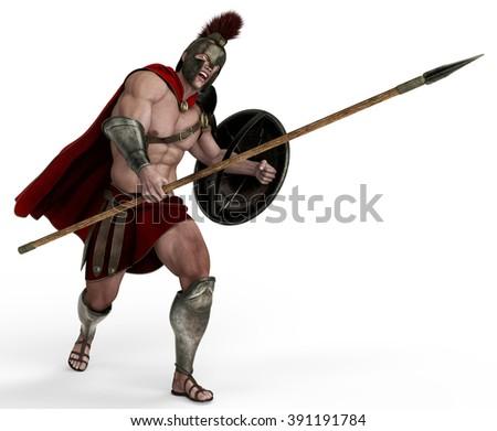 spartan soldier fast attak - stock photo