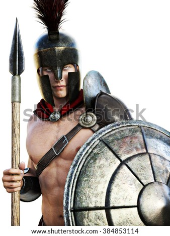 Spartan soldier in battle dress isolated on a white background. - stock photo