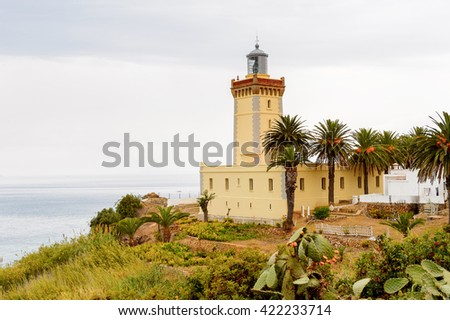 Spartel lighthouse of Tangier, a major city in northern Morocco. It is the capital of the Tanger-Tetouan-Al Hoceima Region and of the Tangier-Assilah prefecture of Morocco. - stock photo