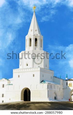 Spasskaya (Saviour) Tower of Kazan Kremlin, tatarstan, Russia  - stock photo