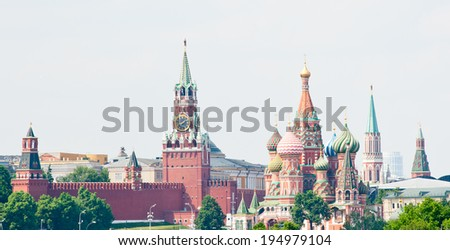 Spasskaya Tower and St. Basil's Cathedral on Red square. Moscow. Russia  - stock photo