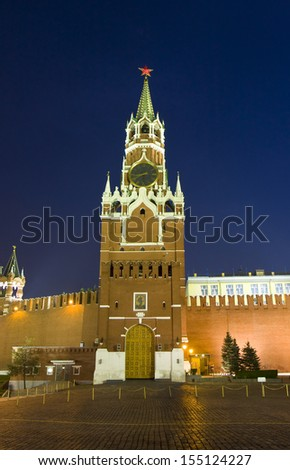 Spasskaya tower of Kremlin fortress at night in Moscow, Russia.