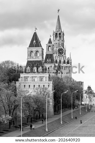 Spasskaya Tower of the Moscow Kremlin. Russian Federation (black and white) - stock photo