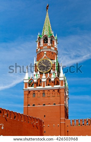 Spasskaya tower on Red square in Moscow, Russia - stock photo
