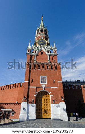 Spasskaya Tower, the main tower with a through-passage on the eastern wall of the Moscow Kremlin, which overlooks the Red Square. - stock photo