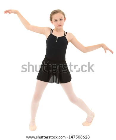 Spastic little dancer girl dancing poorly over white with clipping path. - stock photo