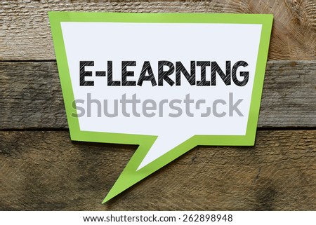 Speach bubble with e-learning - stock photo
