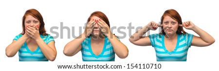 Speak no evil, see no evil and hear no evil - girl isolated on white background - stock photo