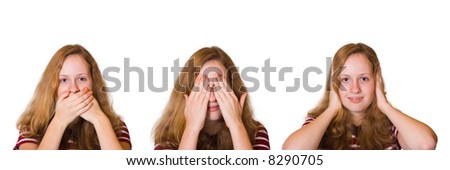 Speak no evil, see no evil and hear no evil, girl isolated on white background - stock photo