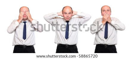 Speak no evil, see no evil and hear no evil. Three monkey concept. Senior businessman on white background. - stock photo