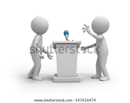 Speak stage/Two 3d people talking, the speak stage background - stock photo