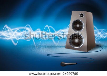 Speaker and microphone on an abstract background