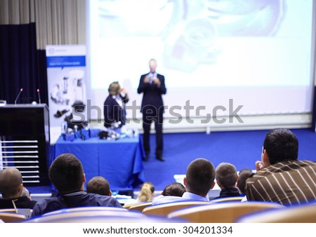 Speaker at Business Conference with Public Presentations.  - stock photo