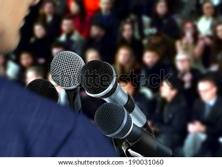 Speaker at Seminar Giving Speech - stock photo
