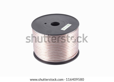 Speaker cable wire on plastic reel Isolated on white background. - stock photo