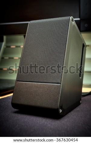 Speaker, column speaker, sound system. - stock photo