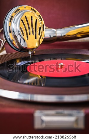 speaker gramophone close up - stock photo