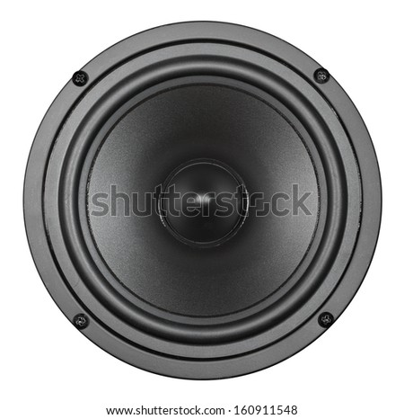 speaker isolated on white round classic - stock photo