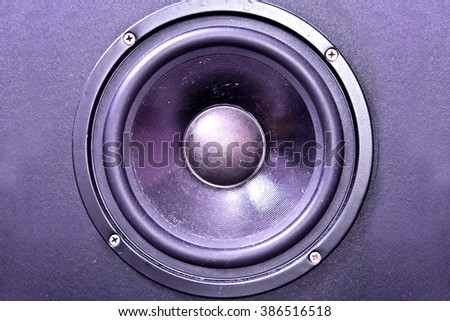Speaker membrane. Electronic equipment on stage and party. - stock photo