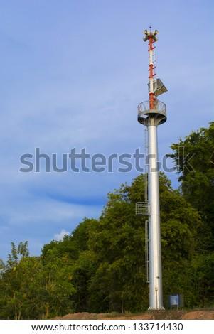 Speaker on high tower - stock photo