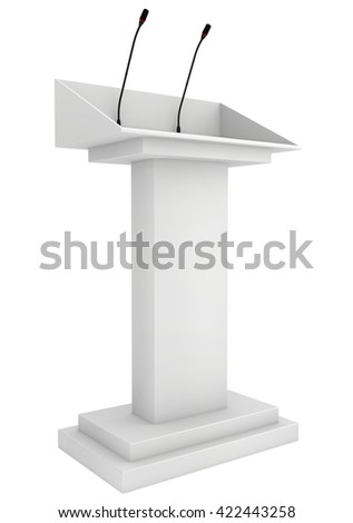 Speaker podium tribune rostrum stand with microphones. 3d render isolated on white background. Debate, press conference.