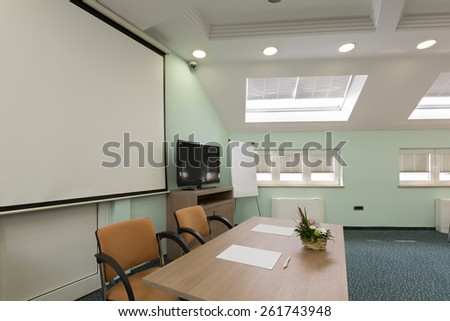 Speaker's table in conference room