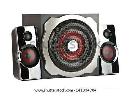 Speaker system with subwoofer on a white background - stock photo