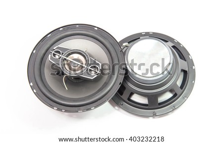 speaker 3 way on white background - stock photo