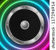 Speaker with abstract rainbow background - RASTER VERSION - stock photo