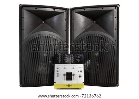 Speakers and professional mixing controller for a disc jockey - stock photo