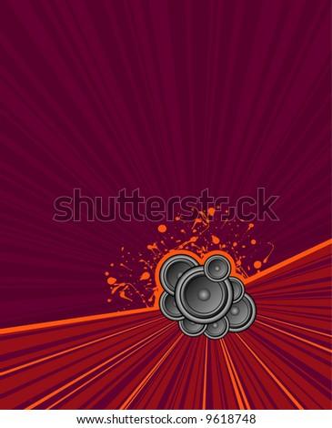 speakers set on purple grunge rush background - stock photo