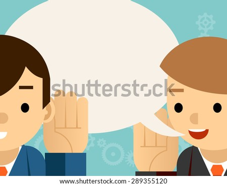 Speaking and listening. One man holds hand at his ear and the other says. Bubble information, hearing and whisper - stock photo