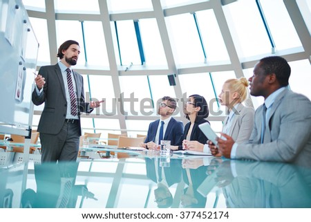 Speaking at conference - stock photo
