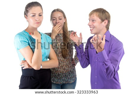 Speaking man and two women on white background