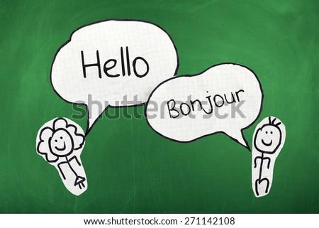 Speaking Translation English and French Languages - stock photo