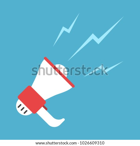 Speaking white and red megaphone isolated on blue background. Announce proclaim and attention concept. Flat design