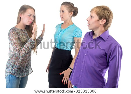 Speaking young woman and two people on white background