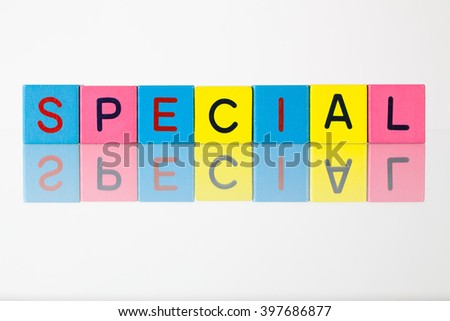 Special - an inscription from children's wooden blocks