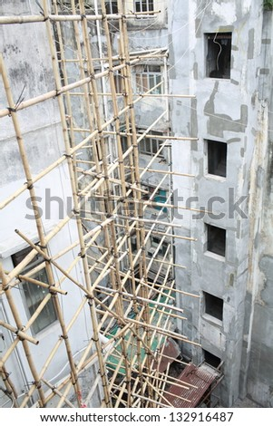 special asian technology of scaffolding made by bamboo