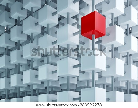 Special box on grid, one special element in composition, business solution - stock photo