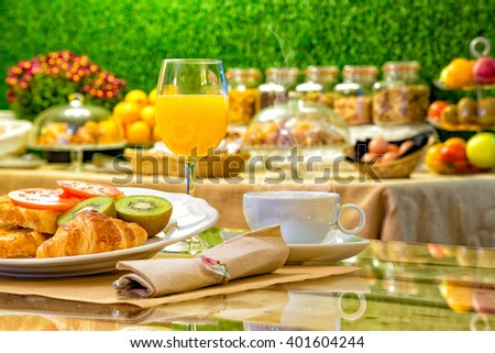 Special Breakfast. Full breakfast. Juice with coffee and pastries.