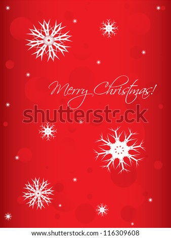special Christmas background with white snowflakes - stock photo