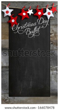 Special Christmas day buffet restaurant bistro menu design on vintage wooden blackboard with copy space