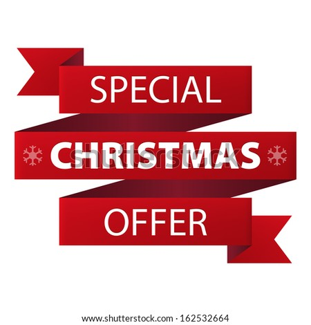 Special Christmas offer red ribbon banner icon isolated on white background. Illustration