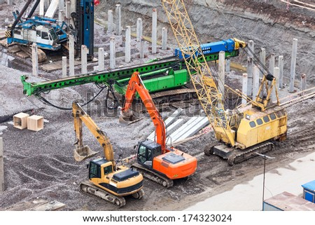 Special construction machinery on the construction site - stock photo