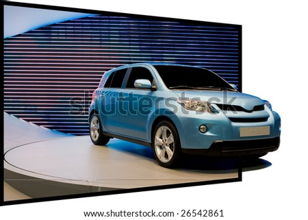 Special 3D effect with car coming out of the image - stock photo