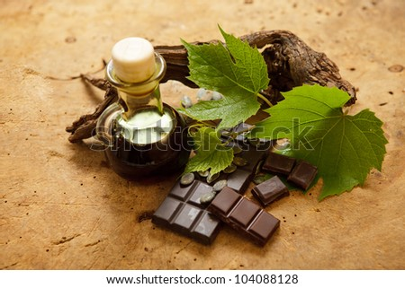 Special delicious chocolate made of pumpkin seeds. - stock photo